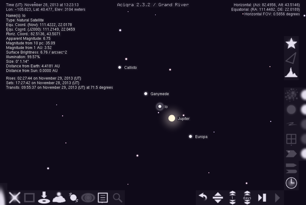Aciqra A Virtual Sky Map - Solar system map with moons