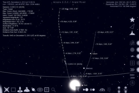 C/2012 S1 (ISON) as it moves south to perihelion before rapidly looping North afterwards