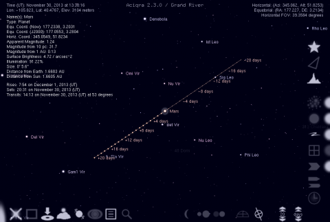 Movement of Mars relative to the background stars