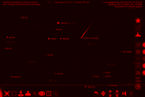 C/2012 S1 (ISON) approaching the Sun, night vision mode